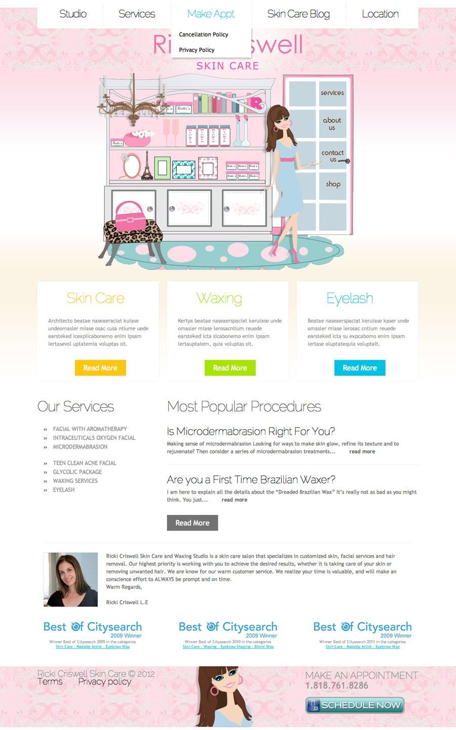 Douglas goddard pasadena web and graphic design client for A skin care salon